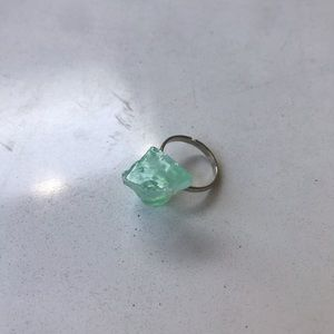 Emerald Calcite Stone in the Rough Ring